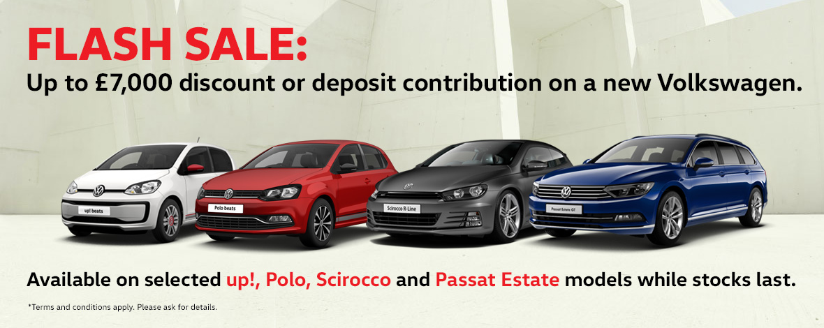 Flash sale on Volkswagen up!, Polo, Scirocco, Passat Estate