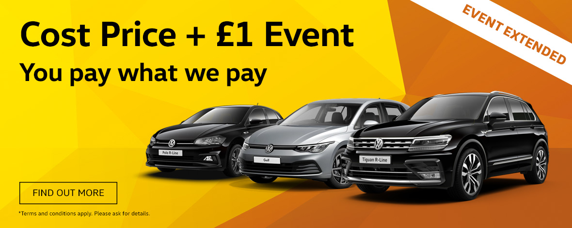 Windrush Volkswagen Cost Price Plus £1 New Car Offers Event