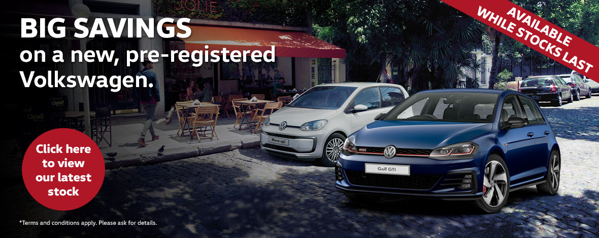 Pre-reg offers on new Volkswagen cars with huge savings