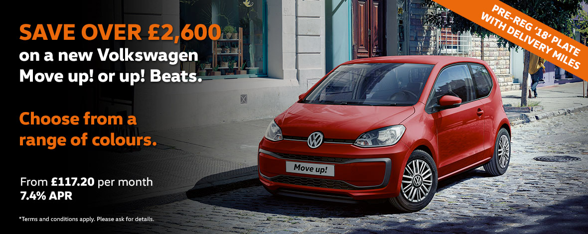 New Volkswagen up! pre reg offers with huge savings
